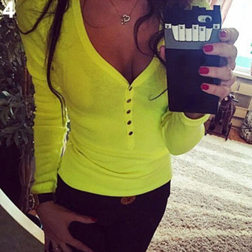 2016 New Product font b Women s b font Fashion Sexy Sweet Long Sleeve Button V