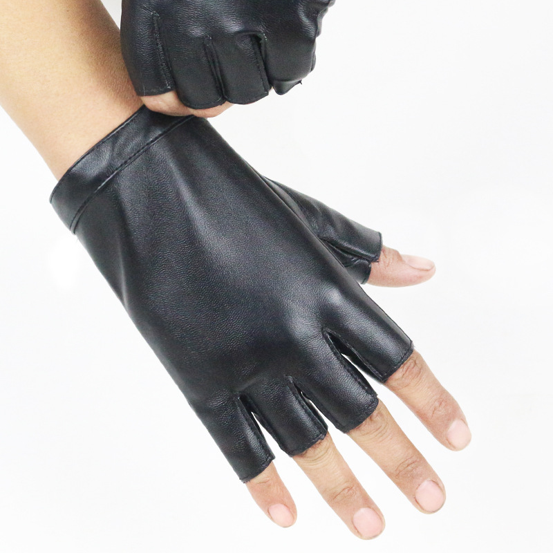 Fashion Female Thin Breathable PU Leather Punk Hip-hop Dance Gloves Women Half Finger Driving Gloves Nightclub Show Gloves A74