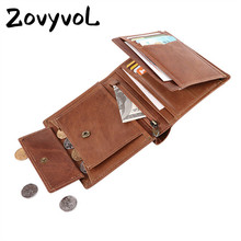 ZOVYVOL 2019 Unisex LONG Wallet Crazy Horse Short Coin Purse Cow Leather Card Case Credit Business Holders Wallets