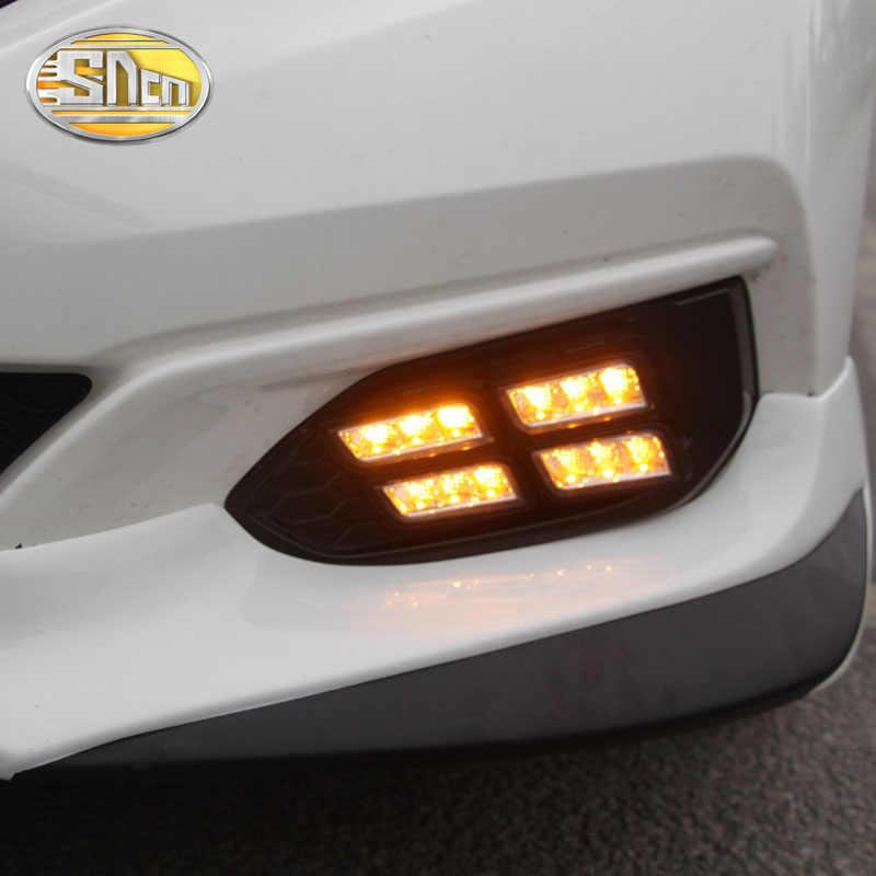 For Honda Fit Jazz 2017 2018 U.S. Edition Daytime Running Light LED DRL fog lamp Driving lights Yellow Turn Signal Lamp