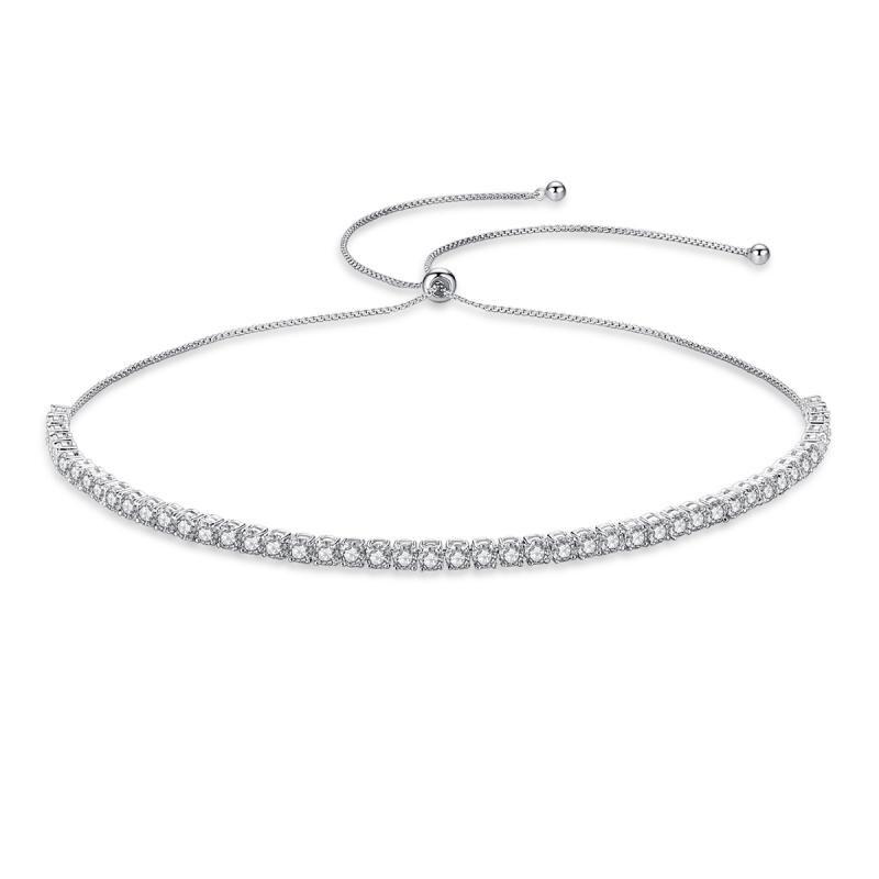 Collier de mode nuptiale brillant zircon cubique 36 cm-42 cm ras du cou chaîne lien collier solide 925 bijoux en argent Sterling pour dames