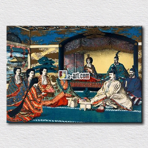 Japanese Emperor Meiji Painting Canvas Old Picture