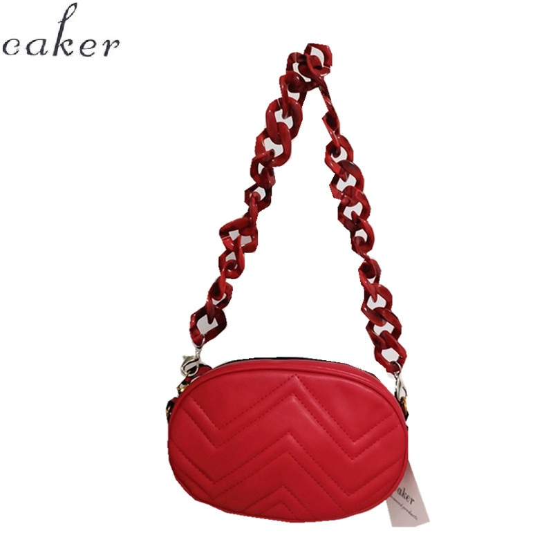 Caker Brand 2019 Women Red PU Leather Handbag V Diamond Lattice Waist Bag High Waist Bags Drop Shipping in Top Handle Bags from Luggage Bags