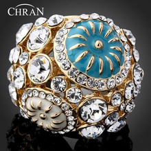Chran Austrian Crystal Gold Color Enamel Brand Jewelry Elegant Party Gifts Fashion Charming Finger Rings for Women