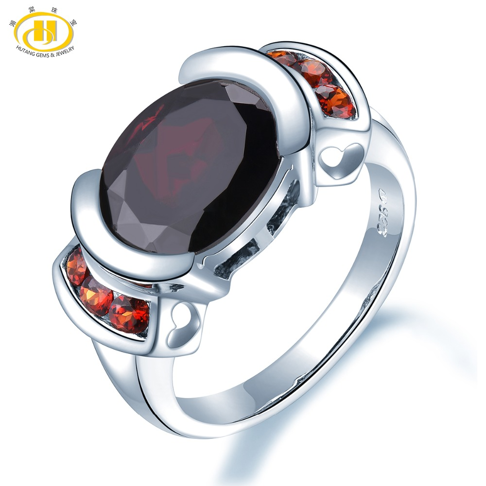 Hutang Garnet Wedding Ring 5 34ct Natural Gemstone Solid 925 Sterling Silver Fine Fashion Stone Jewelry