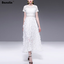 Banulin Vestidos Women Lace Maxi Dress 2019 Summer Runway Designer Tassel O-Neck Female Hollow Out Party Long