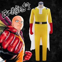 Anime ONE PUNCH MAN Saitama Cosplay Costume Yellow Jumpsuits Battleframe with White Cloak Cape Red Gloves Holloween Carnival