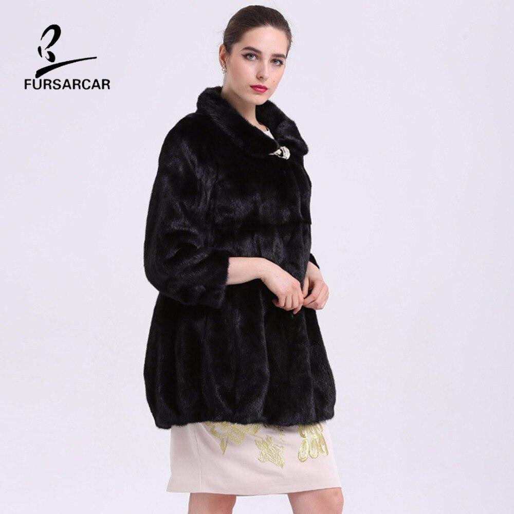 FURSARCAR Mewah Nyata Mink Fur Coats Berdiri Collar Hitam Natural Fur - Pakaian Wanita - Foto 4
