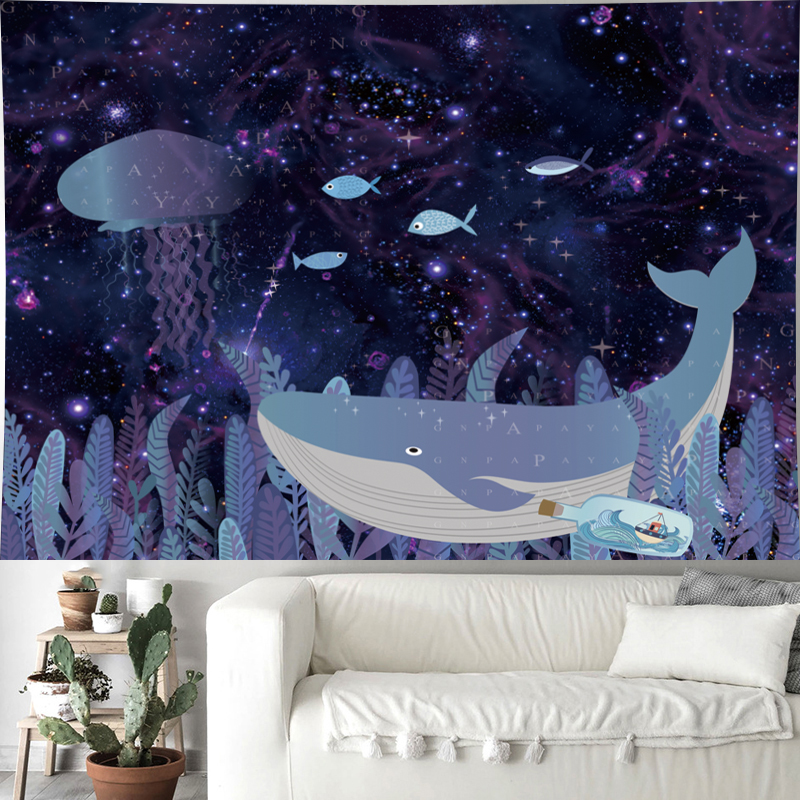 Cute whale cartoon wall hanging Children 39 s room fish wall hanging Underwater World kids room tapestry psychedelic Wall Tapestry in Tapestry from Home amp Garden