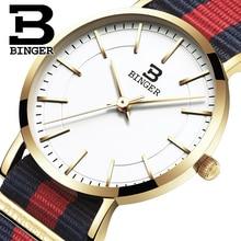 Швейцария БИНГЕР женщины часы люксовый бренд ультратонкий ограниченным тиражом Водонепроницаемый любителей кварцевые Наручные Часы B-3050W-4