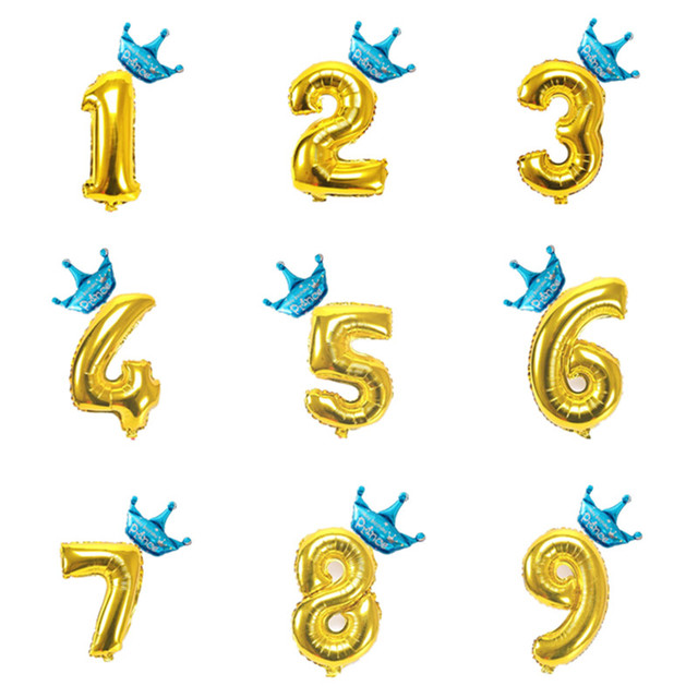 40 Inch Gold 0 9 Number Foil Balloons Baby Boys Girls 1 2 3 4 5 6 7 ...
