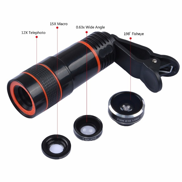 Universal 6 in 1 tripod 12X Zoom Telescope Fisheye Wide Angel Macro Lens For iPhone 6 7 Samsung S8 S7 android smartphone 12DG3 1