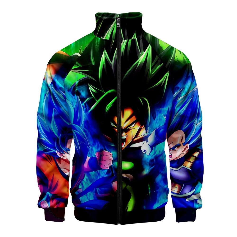 Dragon Ball Super Broly 3D Stand Collar Jacket Harajuku Cool Fashion Zipper Jacket Women/Men Cool Cartoon Sweatshirt