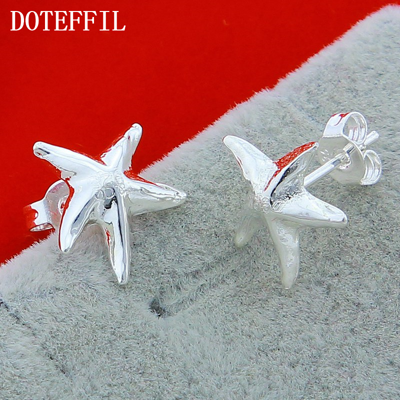 New Fashion 925 Silver Color Starfish Earrings Wholesale Women Exquisite Silver Charm Woman Earrings Free Shipping