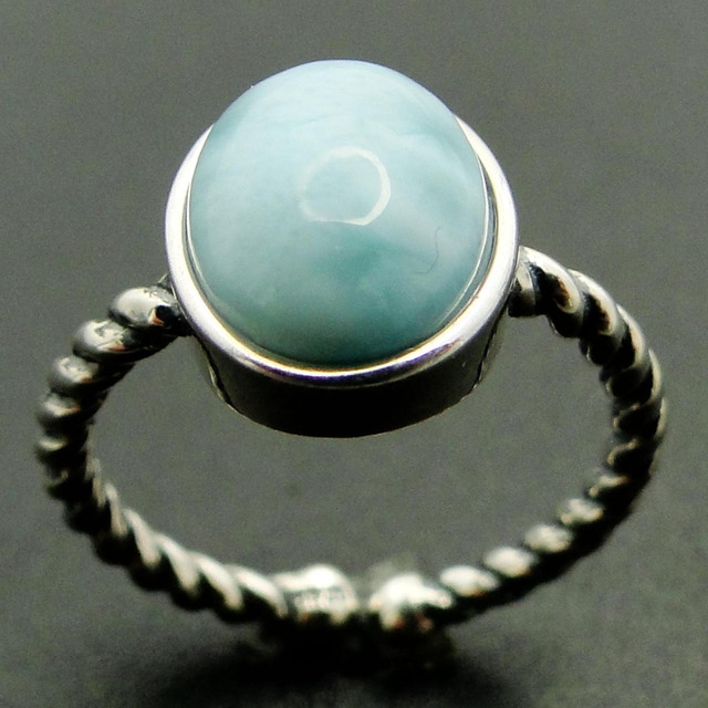 Natural Larimar Ring 100 925 Sterling Silver Jewelry Simple Style