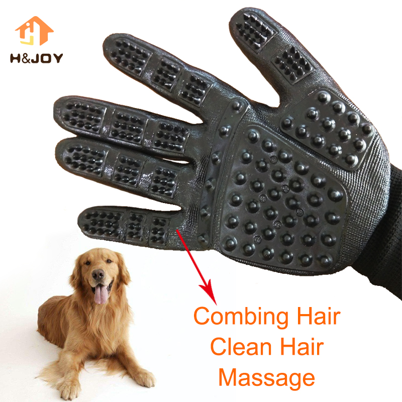 Pet Grooming Glove Dog Five Fingers Brush Comb Pet Hair Cleaning Dog Bath Deshedding Easy Black Pet Shedding Grooming Gloves