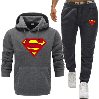 2019 New Superman Hoodie Batman Hooded Men Casual Cotton Fall Winter Warm Hoodies Sweatshirts+Sweatpants Fleece Hooded Pullover