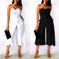Women Ladies Clubwear Strapless Jumpsuit Playsuit Black White Bodycon Party Jumpsuit Rompers Wide Legs Pants Plus