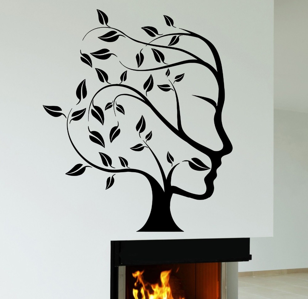 Abstract Nature Tree Woman Face Wall Sticker Creative Art Design Wall Decals Home Room Art Decorative