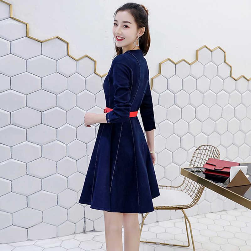 Новейшее высококачественное джинсовое платье, женское весеннее платье трапециевидной формы с круглым вырезом и длинными рукавами, элегантный чистый цвет, мини-джинсовое платье для девочек, W1688