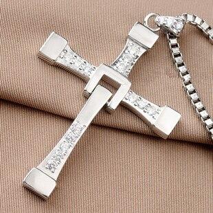 Plus grande taille 925 pendentif de collier croix Dominic Toretto argent rapide et furieux taille: 68mm * 45mm bijoux fantaisie pour petit ami