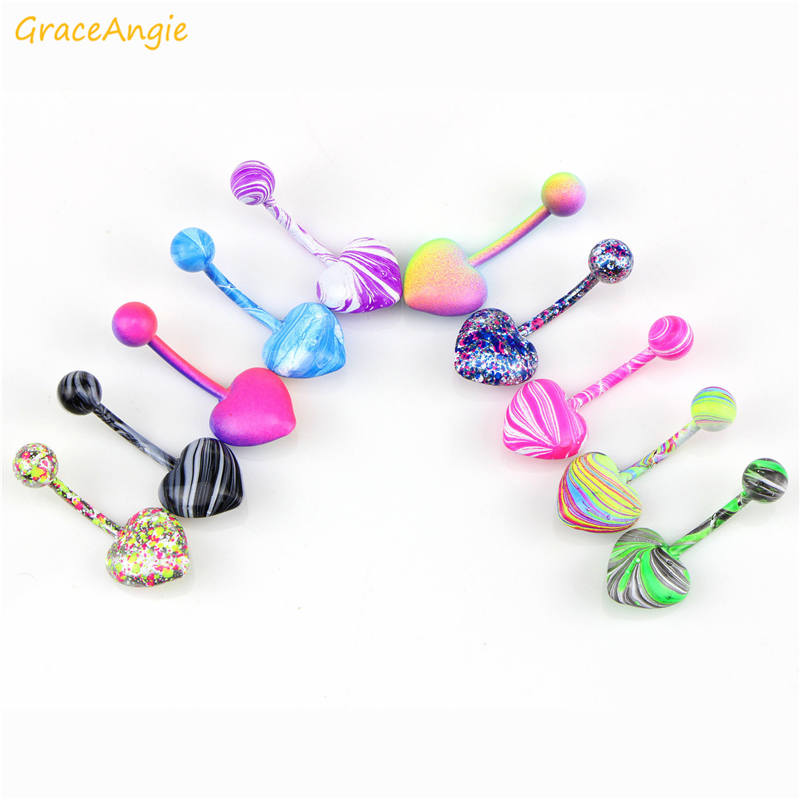 GraceAngie 10pcs Mixed Color Fashion Navel Belly Button Bar Ring Women Piercing Body Jewelry Stainless Steel Personality Jewelry in Body Jewelry from Jewelry Accessories