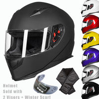 New ILM DOT Full Face Motorcycle Helmet 2 Visors Neck Scarf 7 Color Fashion Quick Release