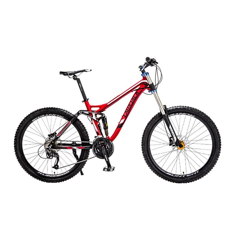 LAUXJACK In Lega di Alluminio Bicicletta a Rimorchio 24/27 Rapidamente Imbottiture Mountain Bike Doppio Disco Olio Della Bici Ammortizzatore