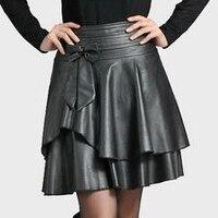 Women 2019 Skirt Was Slim Faux PU Leather A Line Black Skirts Women