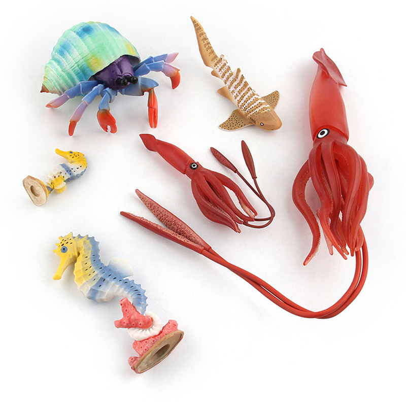 Animal-Figure Toys Collectible-Toys Marine Kids Soft-Rubber Ocean Simulation-Squid/hippocampus