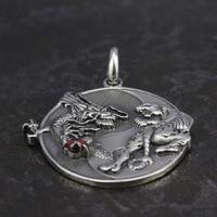 S925 sterling bạc trang sức, Tai Chi độc đoán Rồng Hổ Mặt Dây Chuyền,