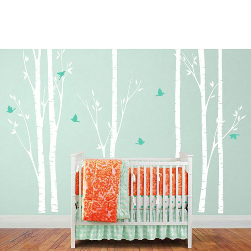 Sticker mural bouleau arbre avec oiseaux bouleau arbre décalcomanie avec oiseaux pour décor de pépinière chambre d'enfants décoration murale L920