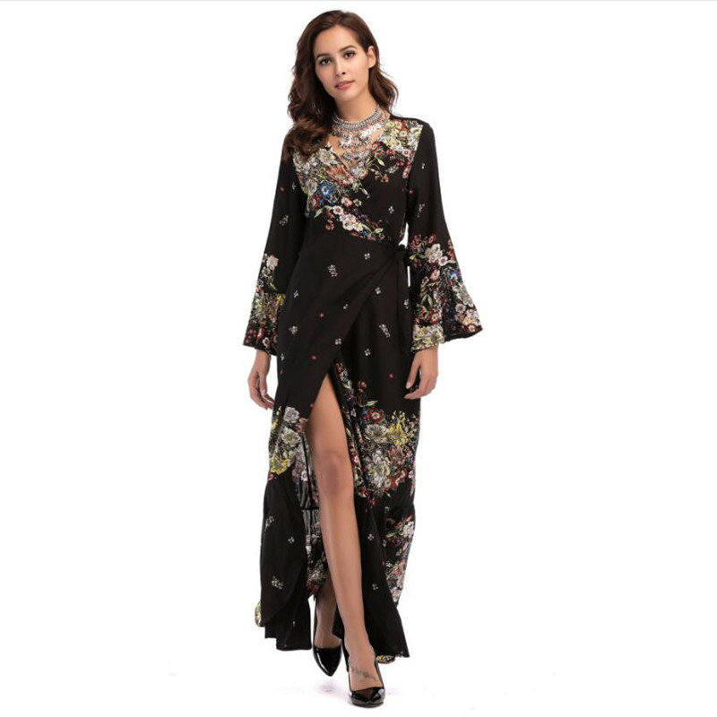 2018 Summer Fashion Boho Chic Floral Dress Women Sexy Split Maxi Dress  Kimono Robe Femme Beach Tunic Vestidos New Arrival-in Dresses from Women s  Clothing ... 4f4a32ac9d9