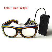 Vender 30 piezas al por mayor gafas fluorescentes con controlador de sonido gafas de neón frío EL