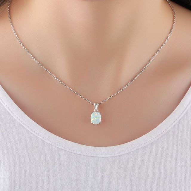 Solitaire Opal Pendant With Silver Necklace