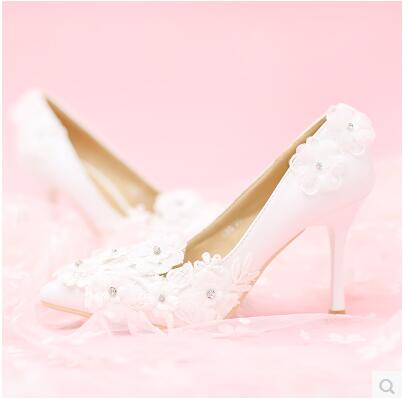 ФОТО Pointed white lace flowers fine with wedding shoes TG644 high-heeled diamond shallow mouth women's singles shoes banquet shoes
