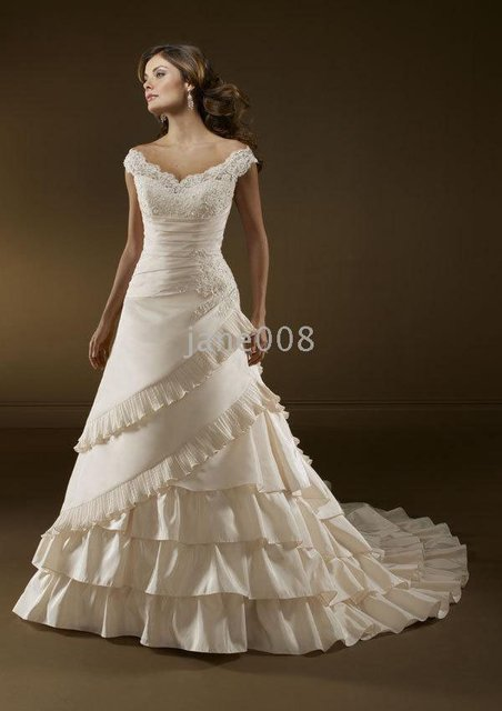 Modern style ivory Taffeta Sleeveless A-Line Floor-length Beaded Embroidered Off- Shoulder Wedding Dress PD15