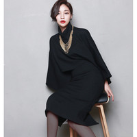 New 2017 Fashion Designer Runway Suit Set Black Women's Blouse Shirt +2pcs Skirt Setnecklace