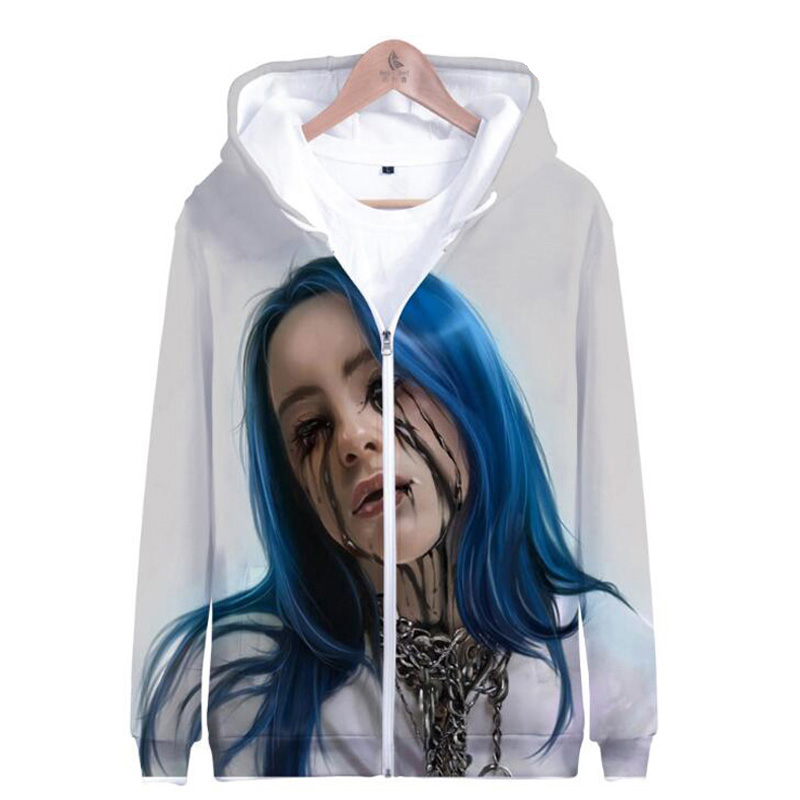 Winter Womens Jackets and Coats Independent Singer Billie Eilish 3D Print Oversized Hoodies Thick Warm Zipper Hooded Sweatshirt