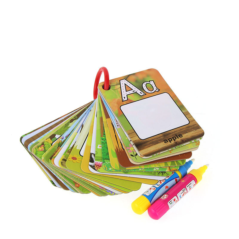 Water Drawing Card 26 English Learning Card Magic with 2 Pen Letter Card Painting Board Educational Toys for Kids^