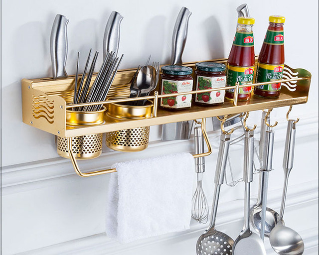 Free Shipping Wall Mounted Stainless Steel Gold Kitchen Shelf