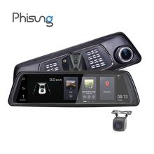 Phisung V9 4G Видеорегистраторы для автомобилей 10in Touch FHD 1080 P зеркало заднего вида Камера Ночное видение Android gps Двойной объектив регистраторы
