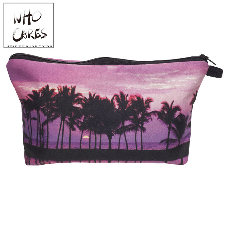 Who Cares Fashion Makeup Bags Purple Printing Cosmetics Pouchs For Travel Ladies Pouch Women Cosmetic Bag