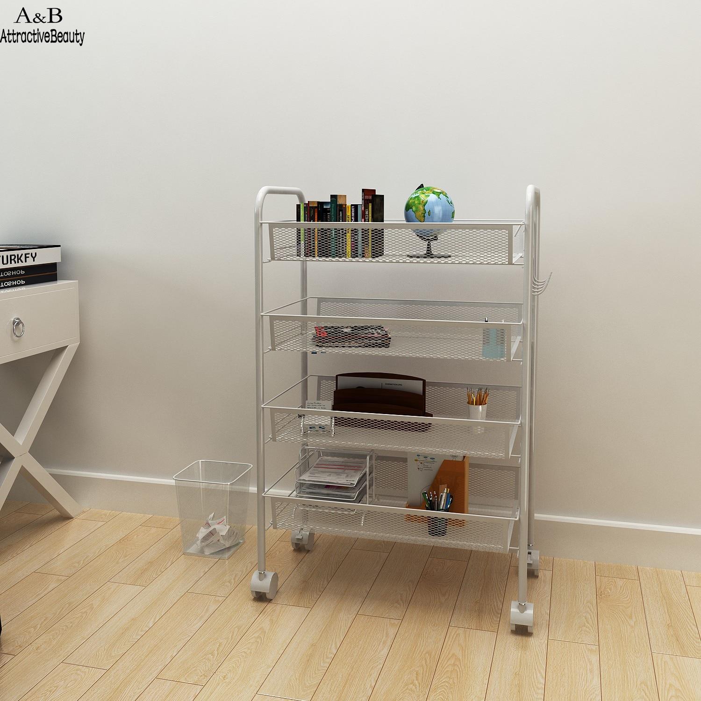 Homdox 4 Tier Multifunctional Metal Useful Storage Cart Rack Shelf Living Room Rolling Cart