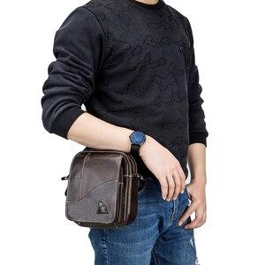 Image 2 - Bolsa de couro genuíno vintage masculina, bolsa de ombro com aba pequena de couro natural
