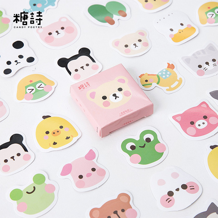Lovely Animal Head Decorative Stickers Set Adhesive Stickers DIY Decoration Diary Stationery Stickers Children Gift