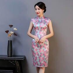Новое поступление, женское короткое китайское традиционное платье с принтом, Цветочный чонсам, воротник-мандарин, шелк, с высоким разрезом