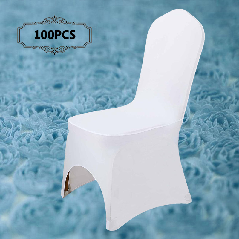 Free Shipping 100PCS Pack Universal Spandex Lycra White Chair Covers for Weddings Banquet Hotel Decor in