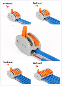 10pcs PCT212)/413/415 Universal Compact Wire Wiring Connector push-in Conductor Terminal Block With Lever 0.08-2.5mm2 for Cable(China)
