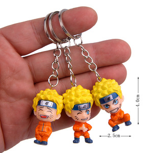 Image 5 - Anime Uzumaki Naruto action toy figure Kakashi Ninja Keychain Japan Konoha Ninja Village Enamel KeyRing men car key Bag Pendant